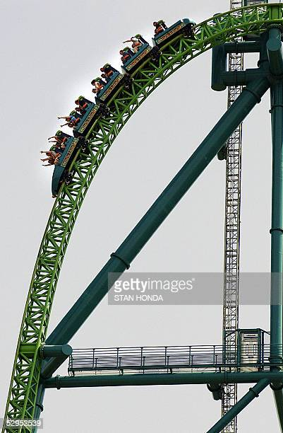 Riders pass the crest of the tower of the 'Kingda Ka' roller coaster and head down 19 May at Six Flags amusement park in Jackson New Jersey The...