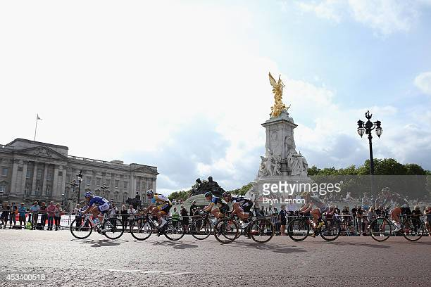 Riders pass the Queen Victoria Monument during the Prudential RideLondon Grand Prix Pro Womens race in St James's Park on August 9 2014 in London...