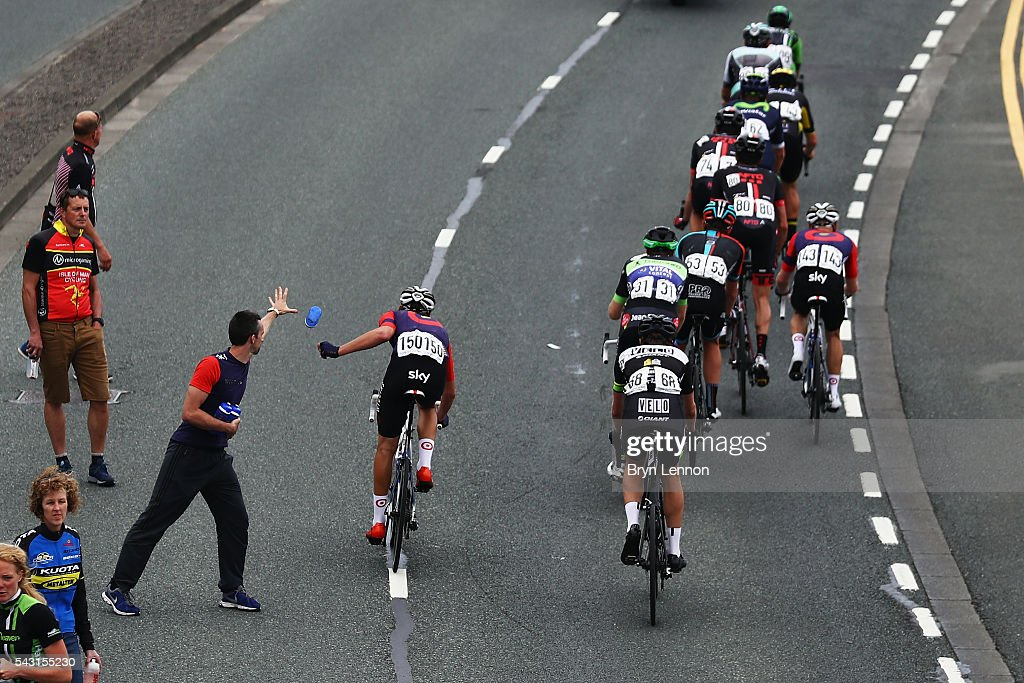 Riders pass through a feed zone during the Elite Men's 2016 National Road Championships on June 26, 2016 in Stockton-on-Tees, England.