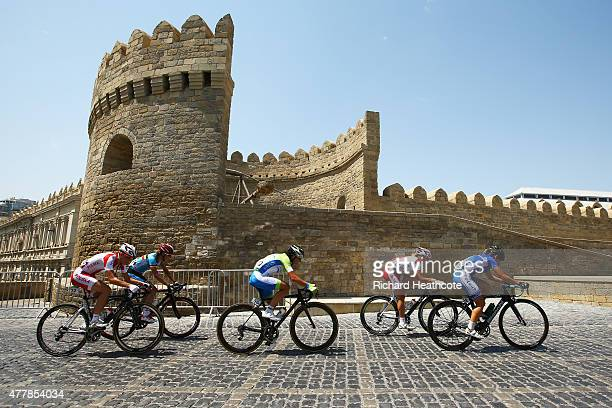 Riders pass through the Old Town during the Women's Road Race on day eight of the Baku 2015 European Games at Freedom Square on June 20 2015 in Baku...