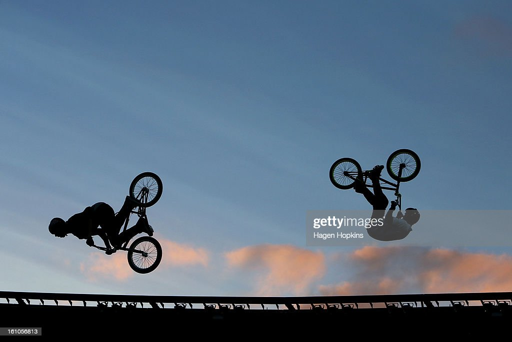 BMX riders perform during Nitro Circus Live at Westpac Stadium on February 9, 2013 in Wellington, New Zealand.
