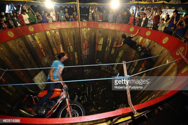 Riders perform in Devil Drums during Sekaten festival at Surakarta square on January 14 2014 in Solo City Indonesia Indonesia celebrates the birth of...
