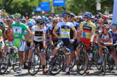 Riders Peter Sagan of Slovakia riding for Cannondale in the green points leader jersey Lawson Craddock riding for Bontrager in the best young rider...