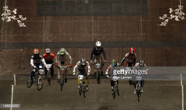 Riders practice their starts during day three of the UCI BMX World Championships at NIA Arena on May 26 2012 in Birmingham England
