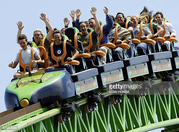 Riders raise their arms as they travel the 'Kingda Ka' roller coaster 19 May at Six Flags amusement park in Jackson New Jersey The roller coaster is...