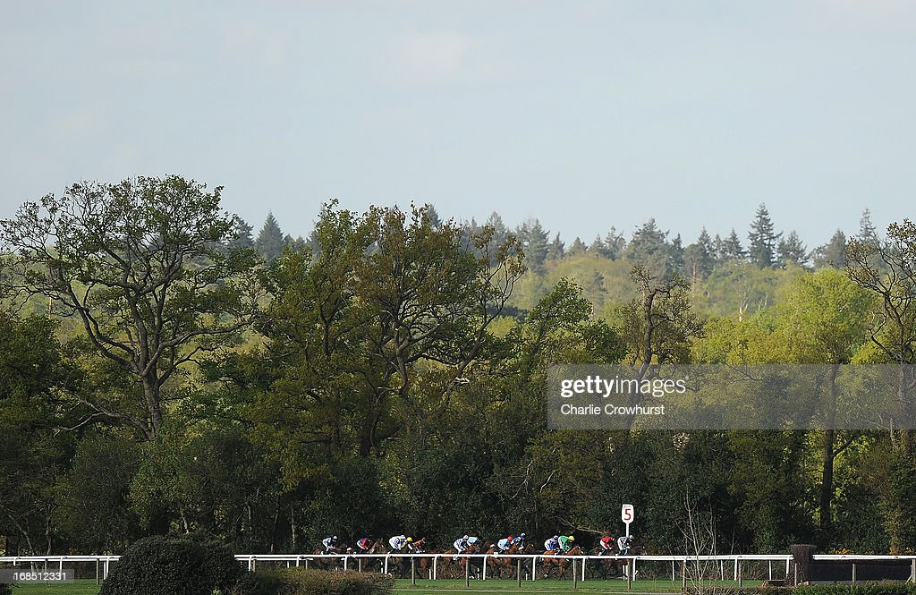 Riders ride in The Two Circles Handicap Stakes at Ascot racecourse on May 10, 2013 in Ascot, England.