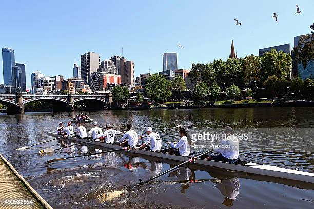 Riders take part in a rowing lesson at Richmond Rowing Club on October 14 2015 in Melbourne Australia The 2015 Australian MotoGP is held at Phillip...