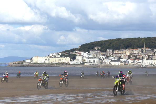 Riders take part in the Adult Solo Class during the HydroGarden Weston Beach Race held on the beach at WestonSuperMare on October 9 2016 in...