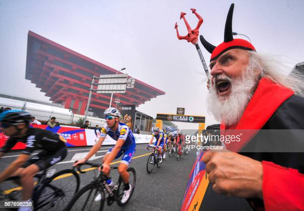 Riders take part in the Tour de France China Criterium in Shanghai on October 29 2017 Tour de France winner Chris Froome won the contest which is a...