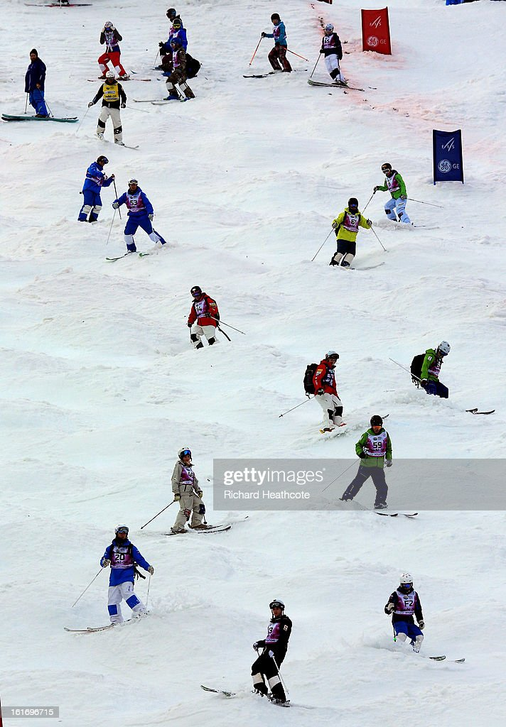 Riders test out the Moguls course in the Extreme Park up at the Rosa Khutor Alpine Ski Resort on February 14, 2013 in Sochi, Russia.