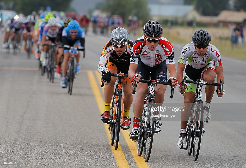 Riders try to breakaway from the peloton at the beginning of stage three of the USA Pro Challenge from Gunnison to Aspen on August 22, 2012 in Gunnison, Colorado.