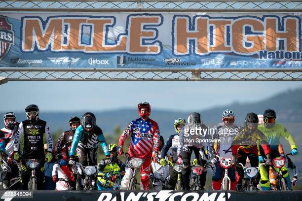 Riders wait on the starting hill at the USA BMX Mile High Nationals on August 6 at Grand Valley BMX in Grand Junction CO