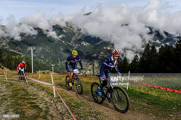 Riders warm up prior to the CrossCountry Team Relay race during day 2 of the UCI Mountain Bike Trials World Championships on September 2 2015 in La...