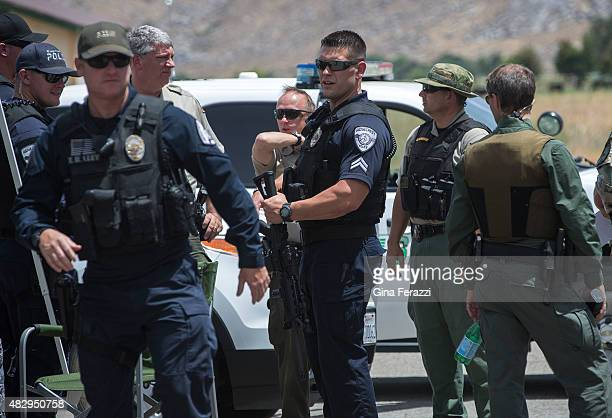 Ridgecrest Police Officers join LA County and Kern County Sheriff deputies in the manhunt for a murder suspect who also shot and wounded two Kern...