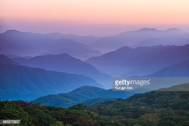 Ridges of mountain at dawn