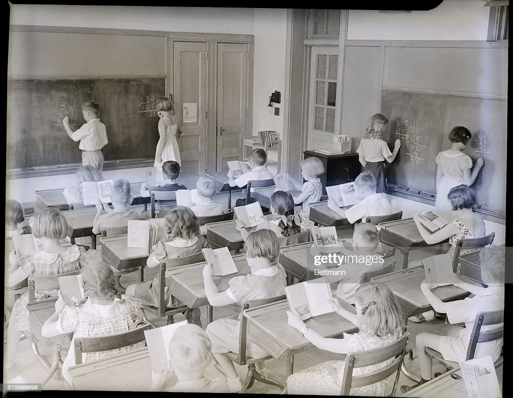 Schoolroom scene at George Washington School Undated photograph