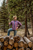 super outdoors man / canadian wilderness / and the coonskin cap