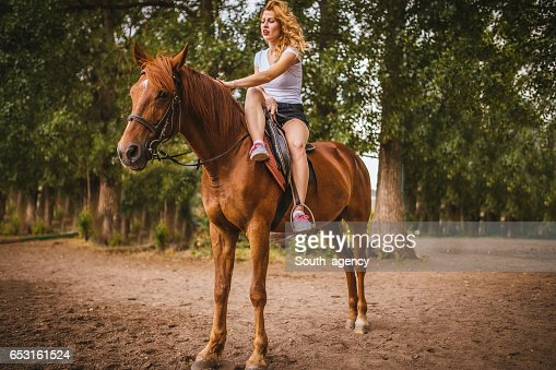 Riding a beautiful horse : Foto stock