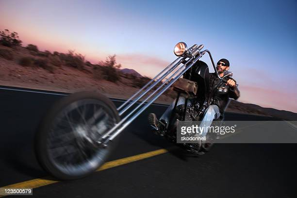 Riding a Chopper Motorcycle in the Desert