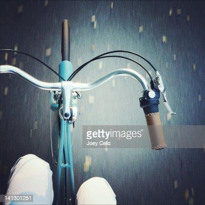 Riding along on blue bike