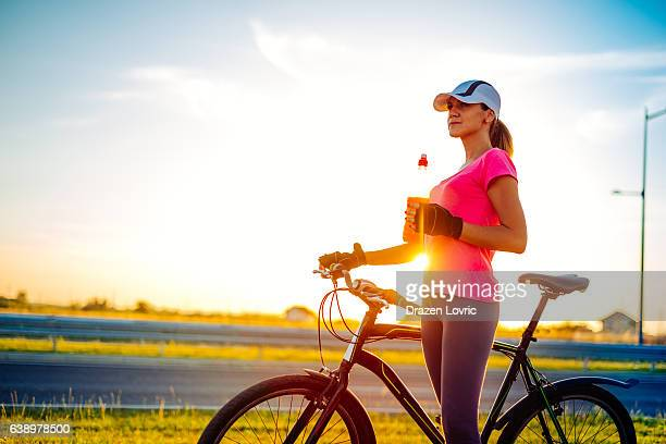 Riding bicycle in summer