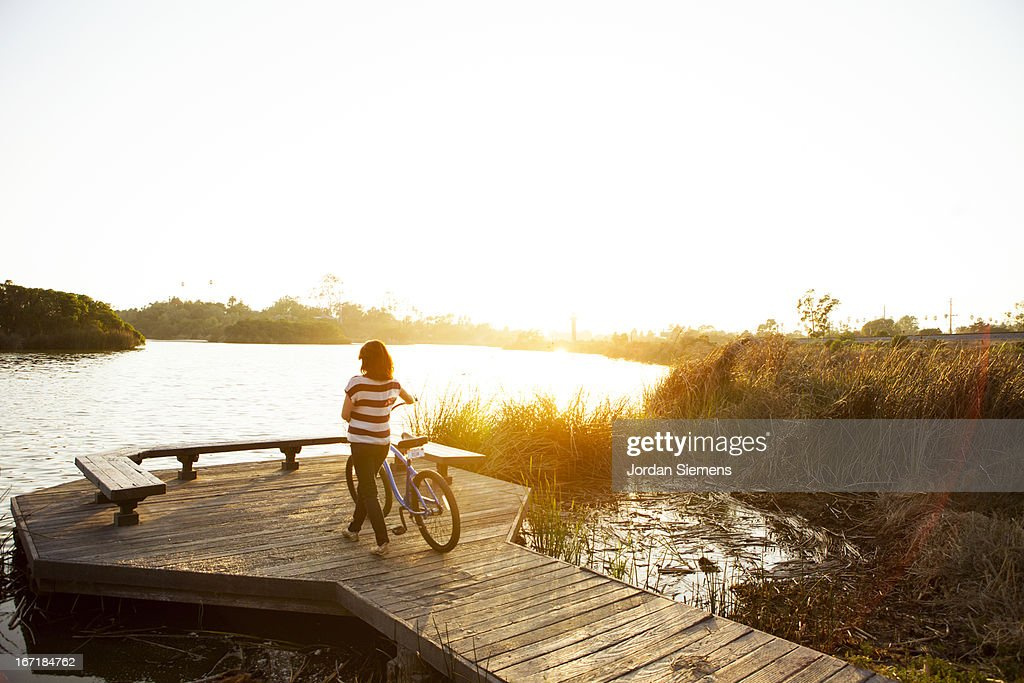 Riding cruiser bikes. : Stock Photo