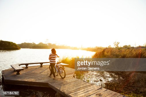 Riding cruiser bikes. : Stock Photo