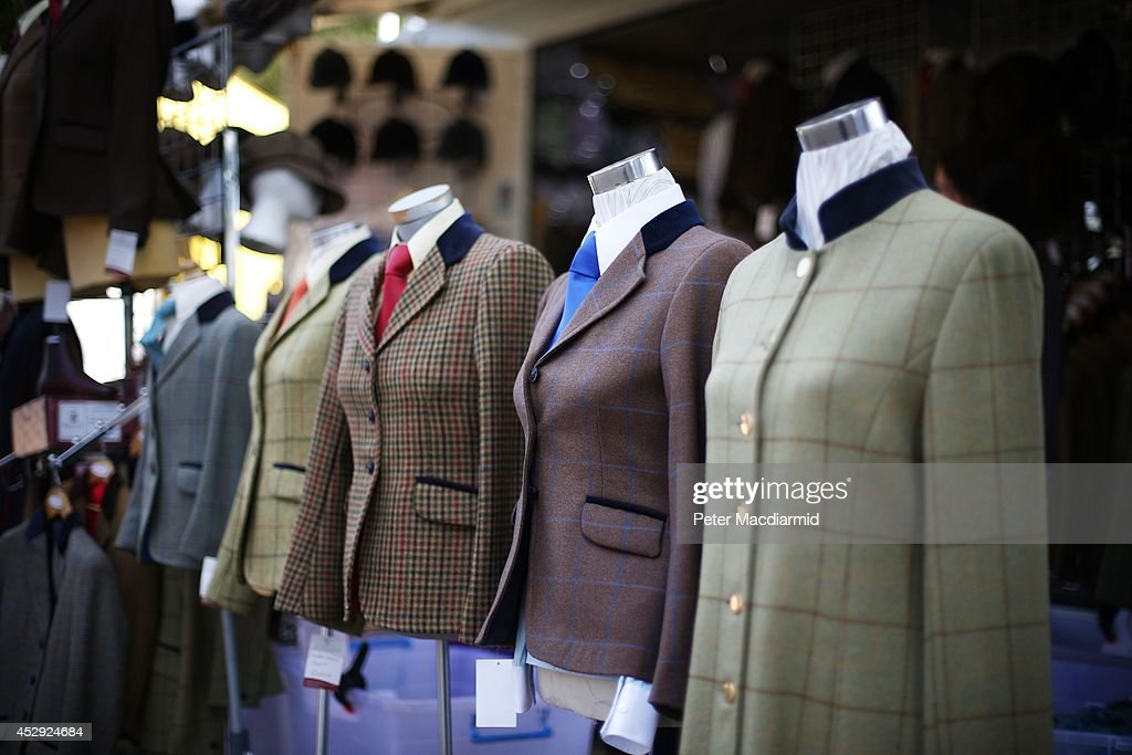 Riding jackets are displayed for sale at the Royal International Horse Show on July 30, 2014 in Hickstead, England. The Longines Royal International Horse Show sees the top eight countries in the world compete for the biggest inter-nation showjumping prize.