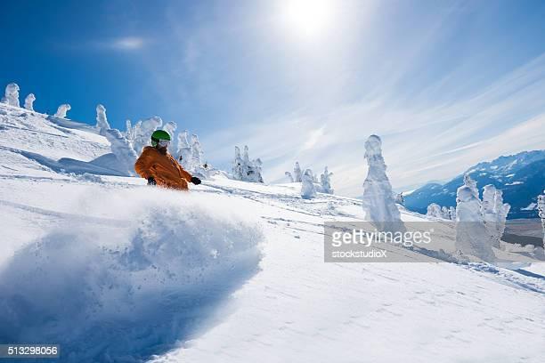 Riding powder at Revelstoke Mountain Resort