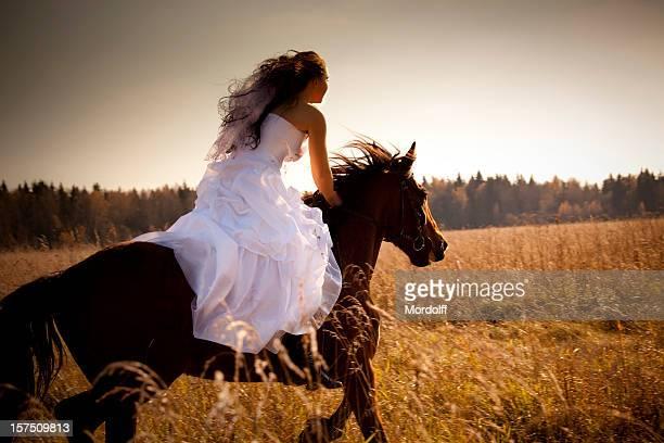 Riding wedding woman at sunset