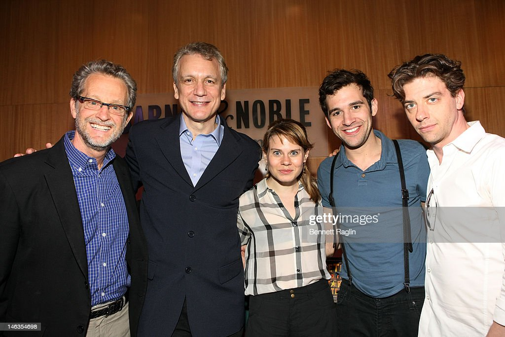 Ridley Peason, Rick Elice, Celia Keenan-Bolger, Adam Chanler Berat, and <a gi-track='captionPersonalityLinkClicked' href=/galleries/search?phrase=Christian+Borle&family=editorial&specificpeople=2530960 ng-click='$event.stopPropagation()'>Christian Borle</a> attend 'Peter And The Starcatcher' Q & A And Autograph Signing at Barnes & Noble, 86th & Lexington on June 14, 2012 in New York City.