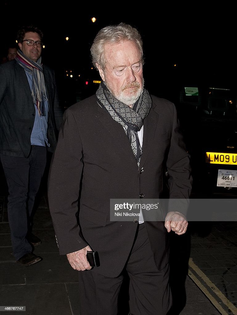 <a gi-track='captionPersonalityLinkClicked' href=/galleries/search?phrase=Ridley+Scott&family=editorial&specificpeople=215470 ng-click='$event.stopPropagation()'>Ridley Scott</a> is seen leaving Scotts restaurant, Mayfair on February 3, 2014 in London, England.
