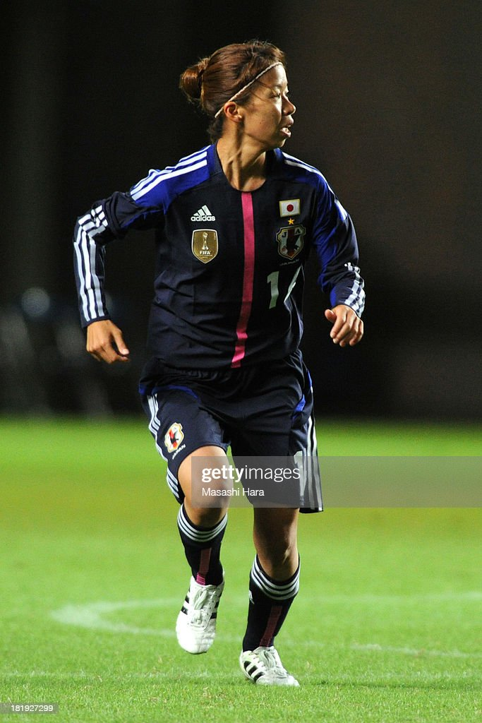 Rie Azami #14 of Japan looks on during the Women's international friendly match between Japan and Nigeria at Fukuda Denshi Arena on September 26, 2013 in Chiba, Japan.
