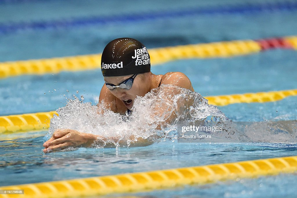 Rie Kaneto of Japan competes in the Women's 100m Breaststroke semi finals during the Japan Swim 2016 at Tokyo Tatsumi International Swimming Pool on April 5, 2016 in Tokyo, Japan.