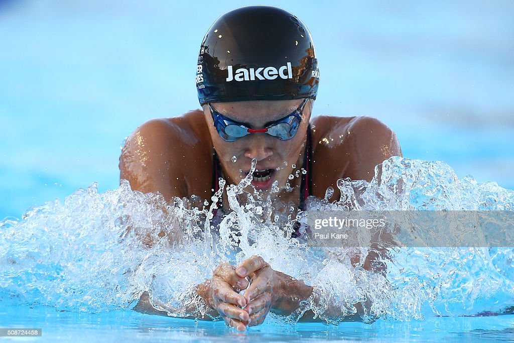 <a gi-track='captionPersonalityLinkClicked' href=/galleries/search?phrase=Rie+Kaneto&family=editorial&specificpeople=5489737 ng-click='$event.stopPropagation()'>Rie Kaneto</a> of Japan competes in the Women's 200 Metre Breaststroke during the 2016 Aquatic Superseries at HBF Stadium on February 6, 2016 in Perth, Australia.