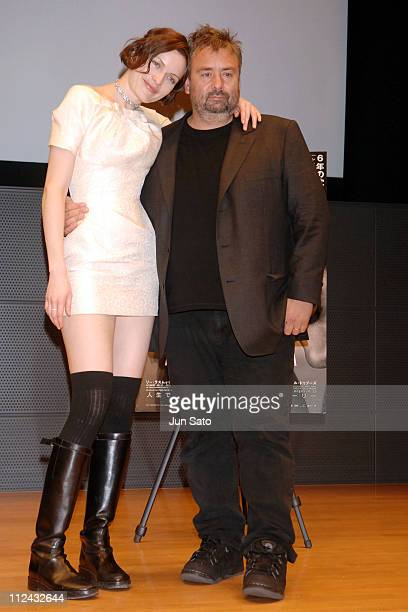 Rie Rasmussen and Luc Besson during 'AngelA' Tokyo Press Conference at Marunouchi Building Hall in Tokyo Japan