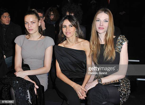 Rie Rasmussen Goya Toledo and Paulina Nemcova attend the Elie Saab Ready to Wear show as part of the Paris Womenswear Fashion Week Fall/Winter 2011...