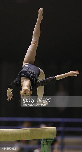 Rie Tanaka competes in the Women's Balance Beam during the Artistic Gymnastics NHK Trophy at Yoyogi National Gymnasium on June 6 2009 in Tokyo Japan