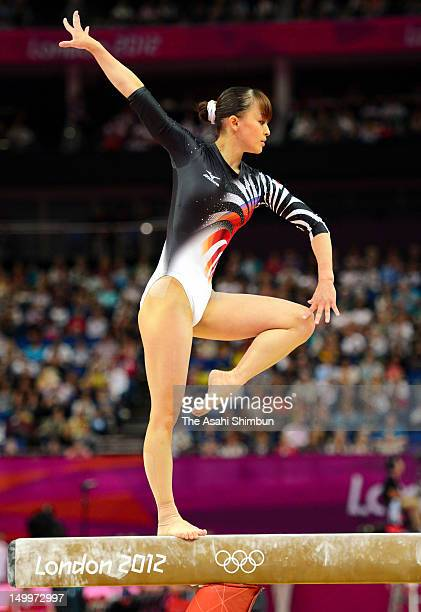 Rie Tanaka of Japan competes in the balance beam in the Artistic Gymnastics Women's qualification on Day 2 of the London 2012 Olympic Games at North...