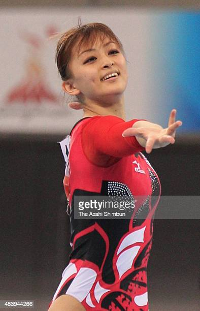 Rie Tanaka of Japan competes in the Gymnastics Women's Floor Apparatus final during day five of the Guangzhou Asian Games at Guangzhou Gymnasium on...