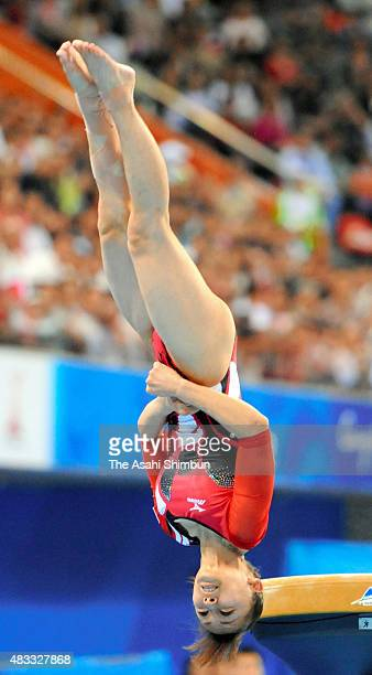 Rie Tanaka of Japan competes in the Horse Vault Apparatus final during day four of the Guangzhou Asian Games at Guangzhou Gymnasium on November 16...
