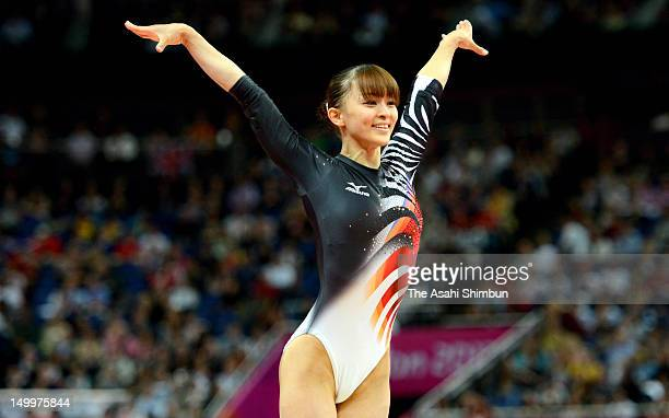 Rie Tanaka of Japan competes in the vault in the Artistic Gymnastics Women's Team final on Day 4 of the London 2012 Olympic Games at North Greenwich...