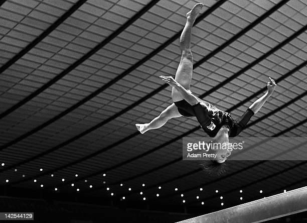 Rie Tanaka of Japan competes on the Balance Beam during day one of the 66th All Japan Artistic Gymnastics All Around Championships at Yoyogi National...