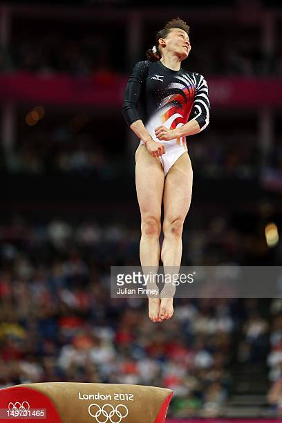 Rie Tanaka of Japan competes on the vault in the Artistic Gymnastics Women's Individual AllAround final on Day 6 of the London 2012 Olympic Games at...