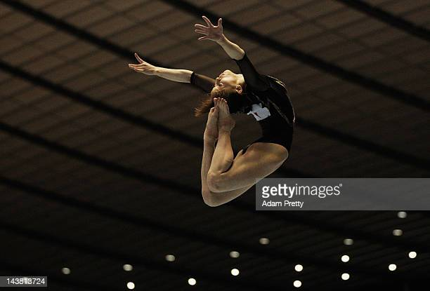 Rie Tanaka of Japan performs her balance beam routine during day one of the 51st Artistic Gymnastics NHK Trophy at Yoyogi National Gymnasium on May 4...