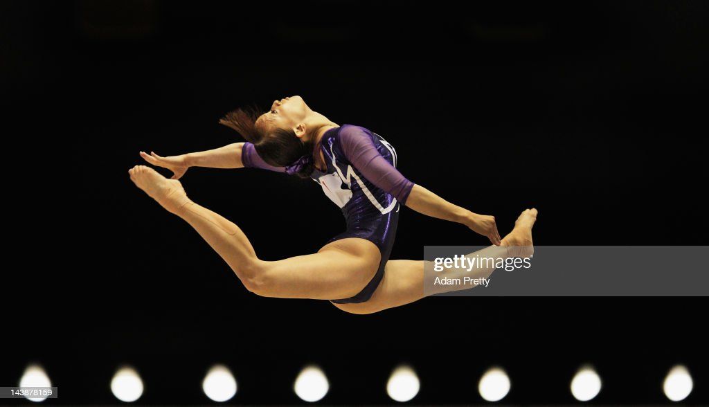 Rie Tanaka of Japan performs her floor routine during day two of the Artistic Gymnastics NHK Trophy at Yoyogi National Gymnasium on May 5, 2012 in Tokyo, Japan.