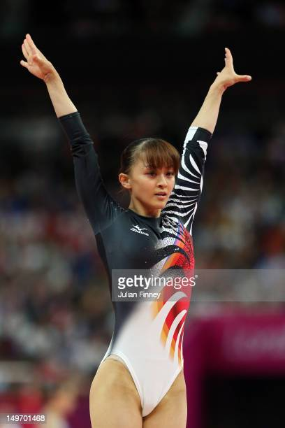 Rie Tanaka of Japan reacts after she competes on the vault in the Artistic Gymnastics Women's Individual AllAround final on Day 6 of the London 2012...