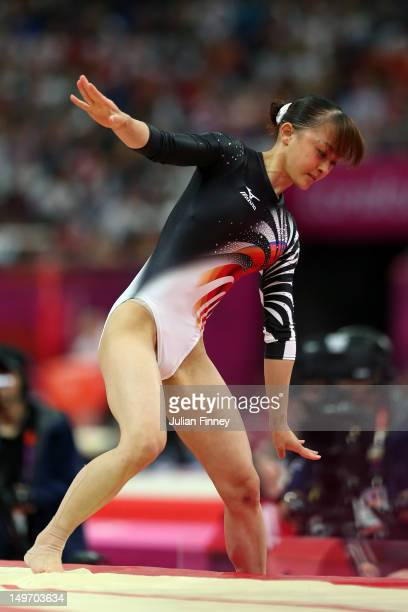 Rie Tanaka of Japan tries to balance her landing from the vault in the Artistic Gymnastics Women's Individual AllAround final on Day 6 of the London...