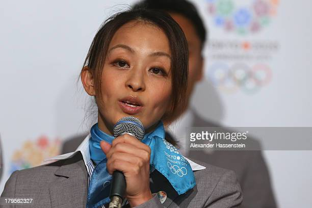 Rie Tanaka talks to the media during a Tokyo 2020 Bid Committee press conference ahead of the 125th IOC Session at Sheraton Buenos Aires Hotel and...