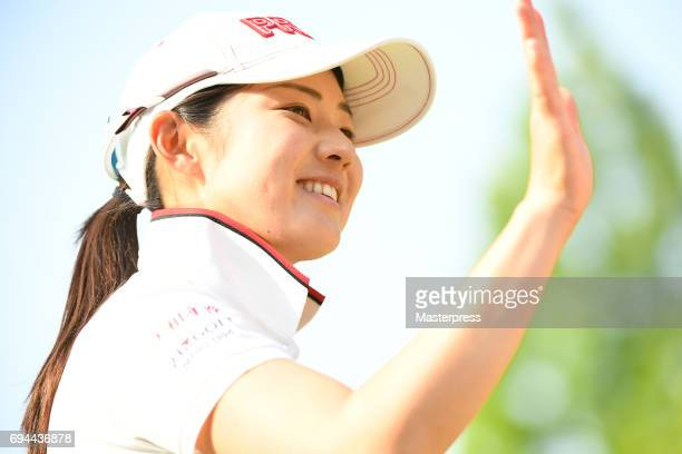 Rie Tsuji of Japan celebrates after making her birdie putt on the 18th hole during the third round of the Suntory Ladies Open at the Rokko Kokusai...